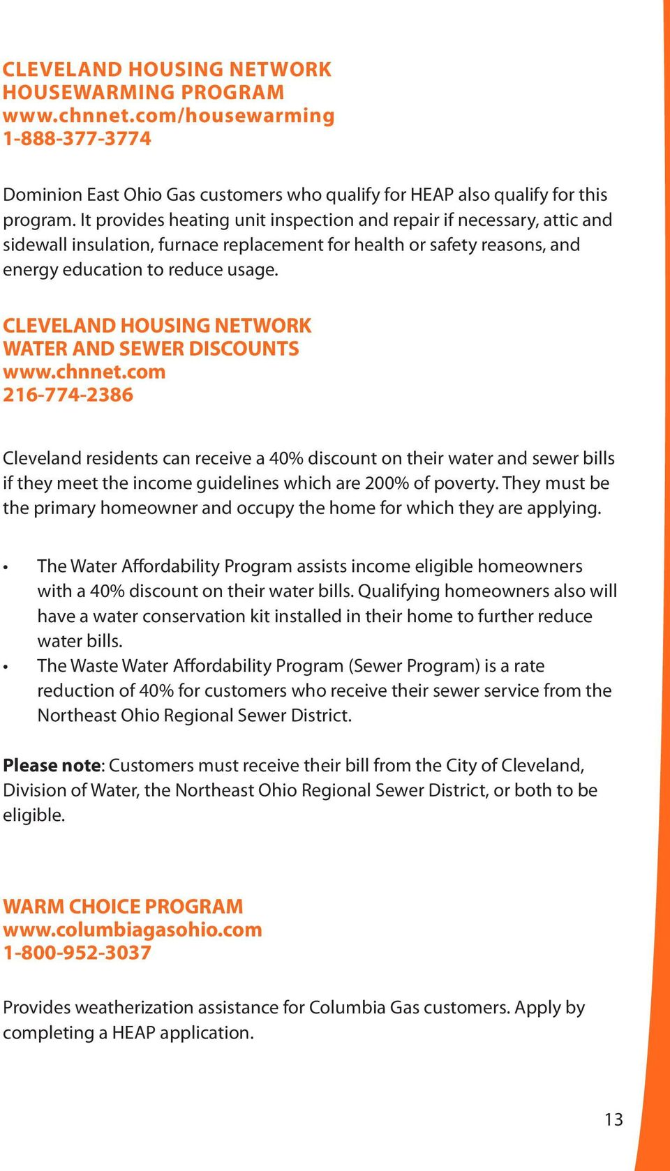 CLEVELAND HOUSING NETWORK WATER AND SEWER DISCOUNTS Www.chnnet.