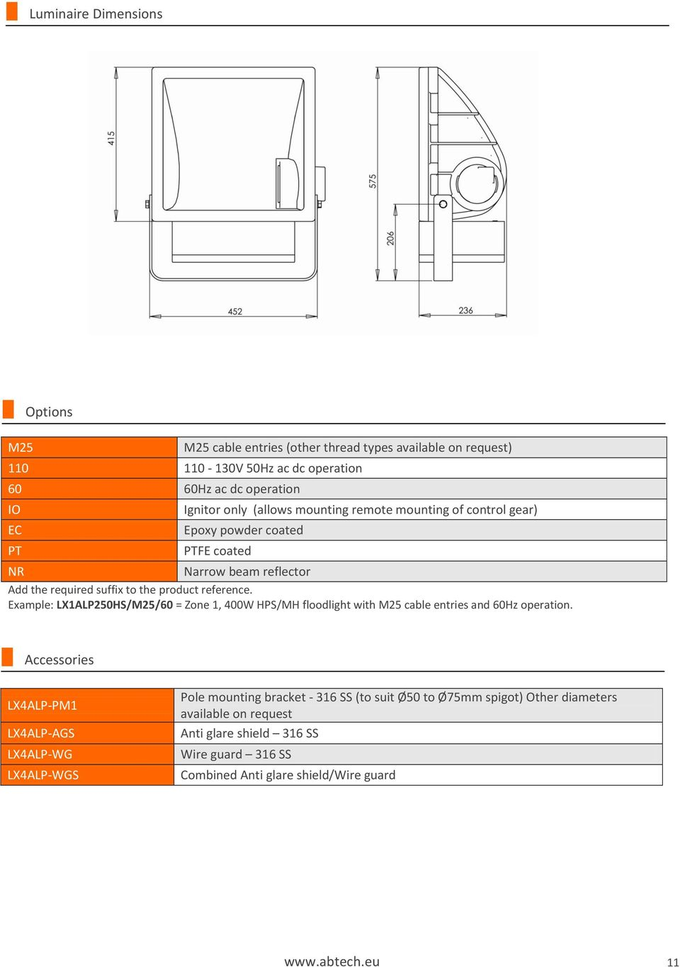 Example: LX1ALP250HS/M25/60 = Zone 1, 400W HPS/MH floodlight with M25 cable entries and 60Hz operation.