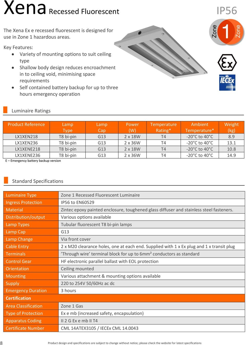 hours emergency operation Luminaire Ratings Product Reference Lamp Type Lamp Cap Power (W) Temperature Rating* Ambient Temperature* Weight (kg) LX1XEN218 T8 bi-pin G13 2 x 18W T4-20 C to 40 C 8.