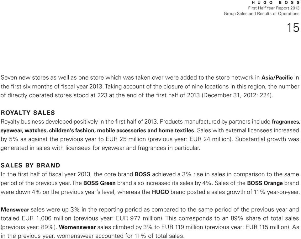 ROYALTY SALES Royalty business developed positively in the first half of 2013.