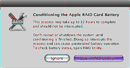 Running RAID Utility The RAID Utility application is in /Applications/Utilities/.