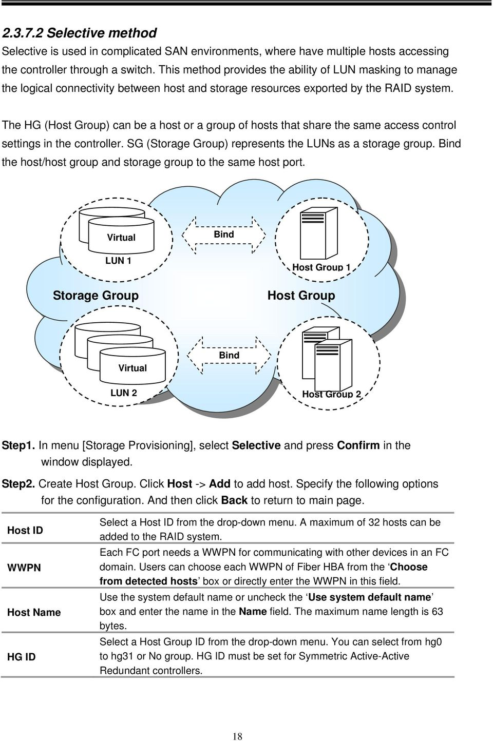The HG (Host Group) can be a host or a group of hosts that share the same access control settings in the controller. SG (Storage Group) represents the LUNs as a storage group.