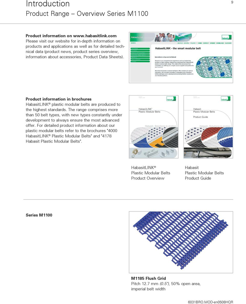 Product Data Sheets). Product information in brochures HabasitLINK plastic modular belts are produced to the highest standards.