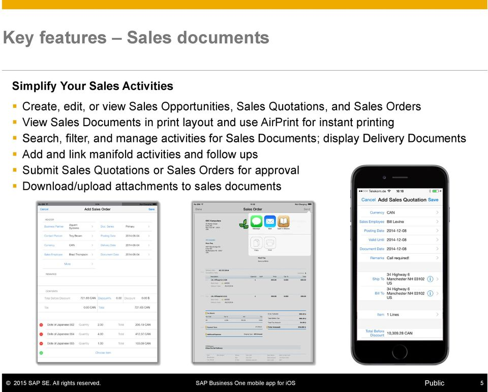 filter, and manage activities for Sales Documents; display Delivery Documents Add and link manifold activities