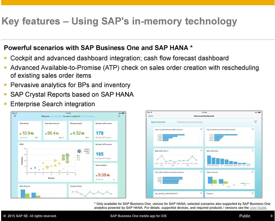 BPs and inventory SAP Crystal Reports based on SAP HANA Enterprise Search integration * Only available for SAP Business One, version for SAP HANA; selected