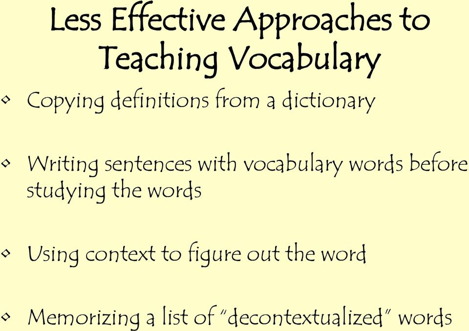 vocabulary words before studying the words Using context