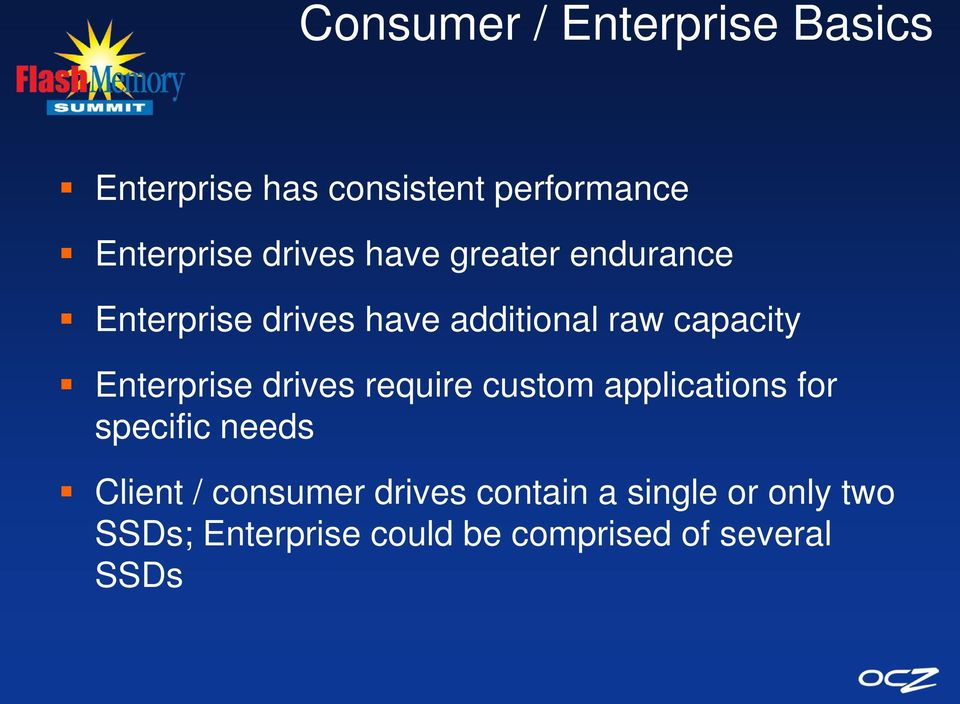 Enterprise drives require custom applications for specific needs Client /