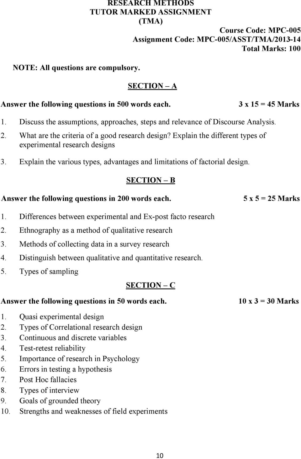 m a psychology first year courses mpc assignments for  3 x 15 45 marks 1 discuss the assumptions approaches steps and