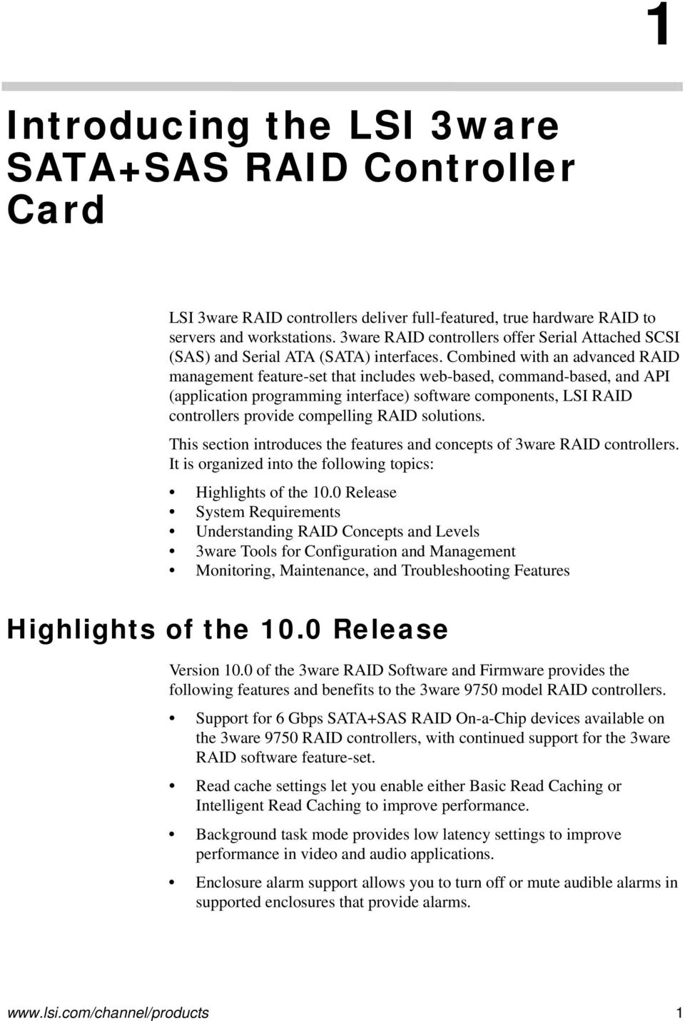 Combined with an advanced RAID management feature-set that includes web-based, command-based, and API (application programming interface) software components, LSI RAID controllers provide compelling