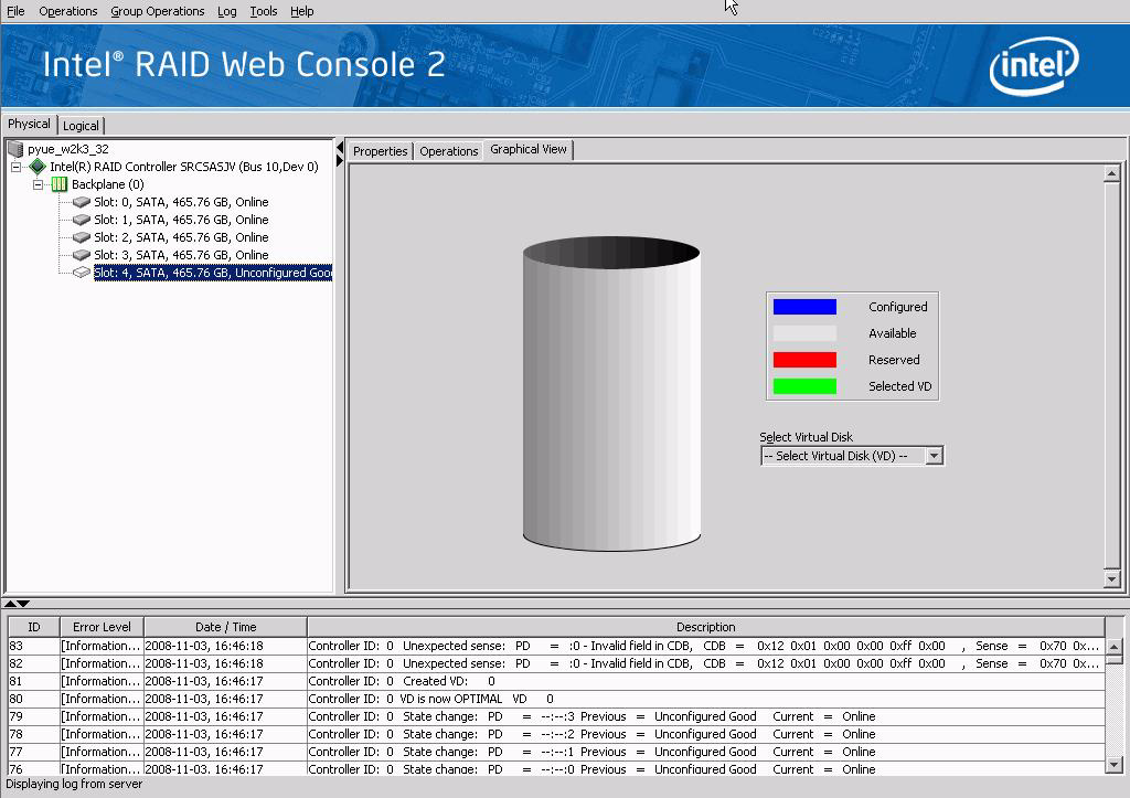 Figure 49. Intel RAID Web Console 2 Graphical Tab (Optional feature) Event Log Panel Menu Bar/Manage Menu The lower part of the screen displays the event log entries for the system.