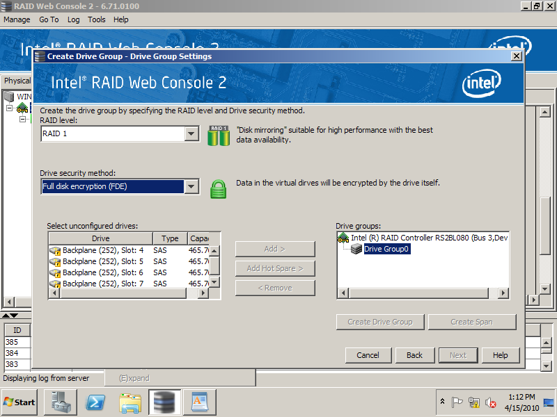 9. Controller properties now indicate Drive security enabled is Yes. Figure 103. Check Drive Security Enabled status 10.