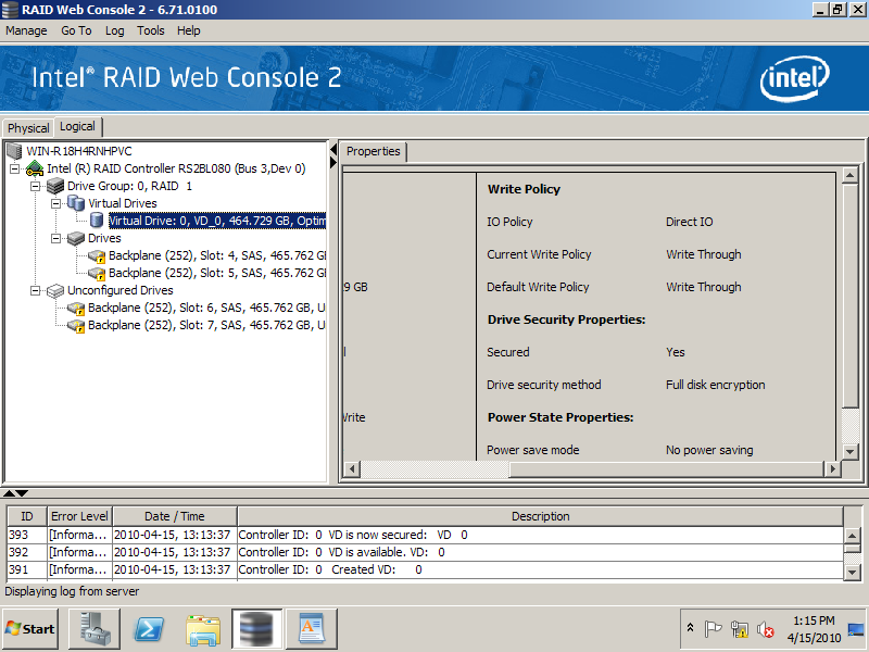 11. Follow same steps for creating a RAID virtual drive.