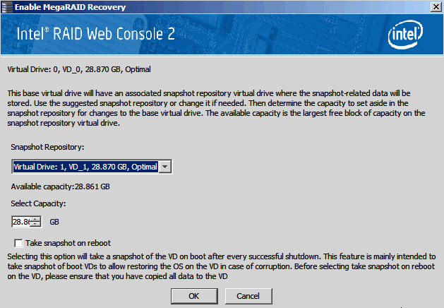 Figure 108. Enable MegaRAID Recovery 3. On the Enable MegaRAID Recovery Wizard screen, select the virtual drive to use as the Snapshot Repository in the Snapshot Repository field.