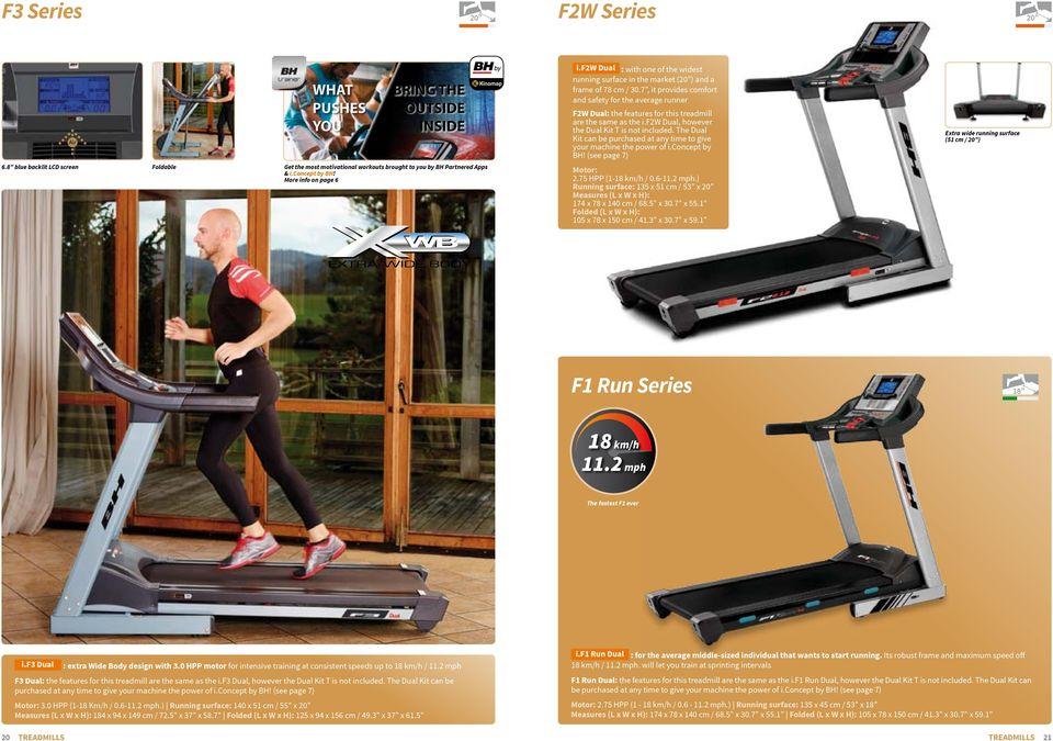 7, it provides comfort and safety for the average runner F2W : the features for this treadmill are the same as the i.f2w, however the Kit T is not included.
