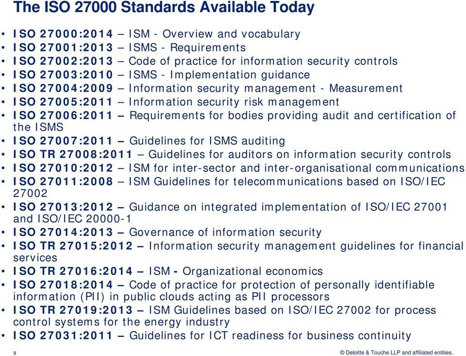 providing audit and certification of the ISMS ISO 27007:2011 Guidelines for ISMS auditing ISO TR 27008:2011 Guidelines for auditors on information security controls ISO 27010:2012 ISM for