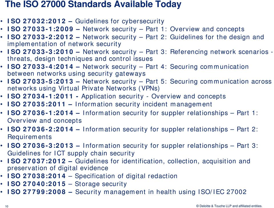 27033-4:2014 Network security Part 4: Securing communication between networks using security gateways ISO 27033-5:2013 Network security Part 5: Securing communication across networks using Virtual