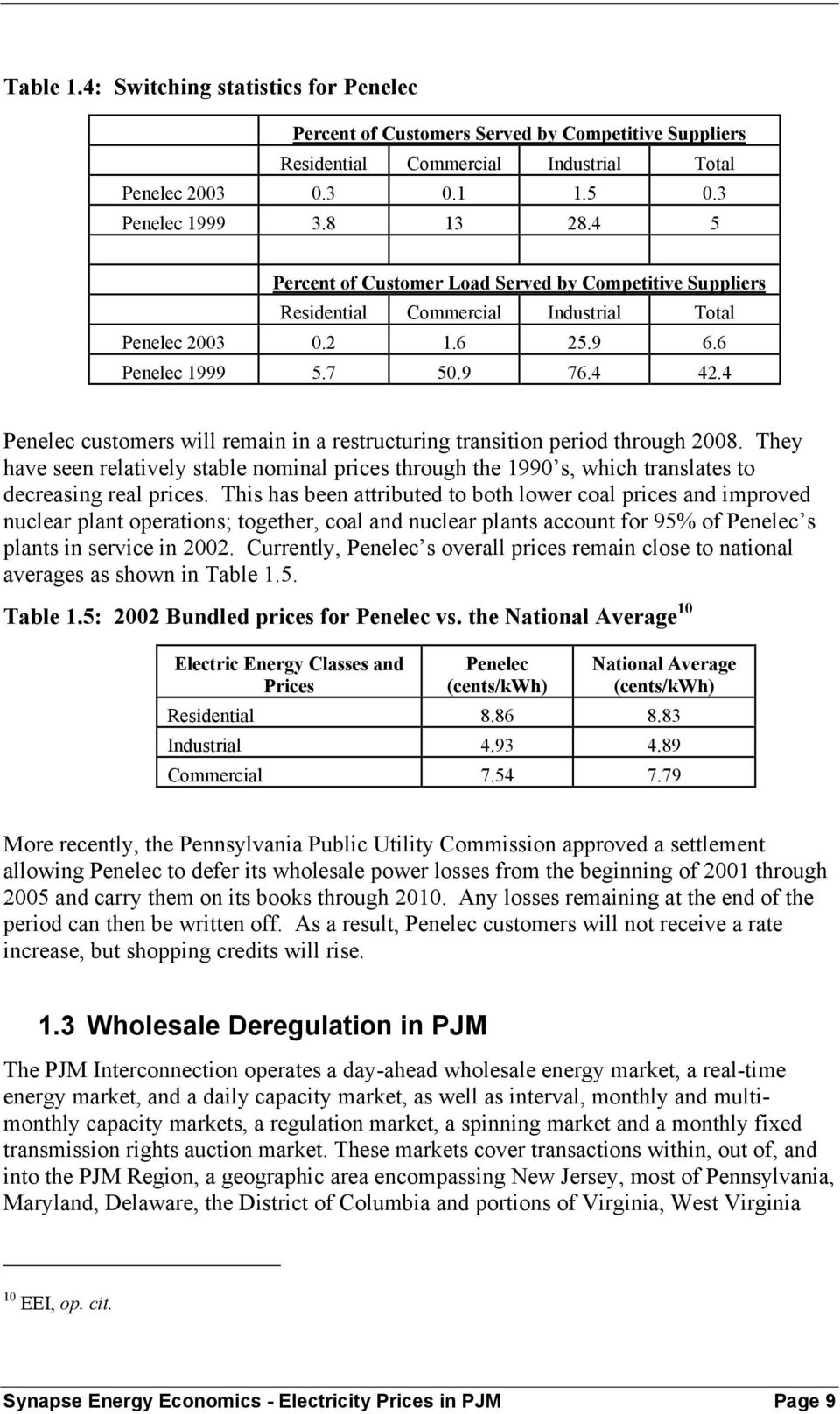 4 Penelec customers will remain in a restructuring transition period through 2008. They have seen relatively stable nominal prices through the 1990 s, which translates to decreasing real prices.