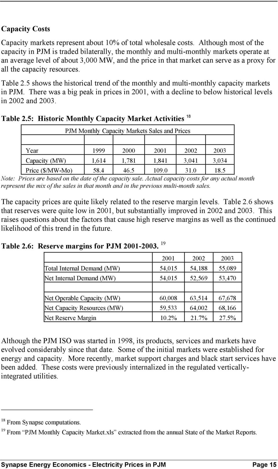 all the capacity resources. Table 2.5 shows the historical trend of the monthly and multi-monthly capacity markets in PJM.