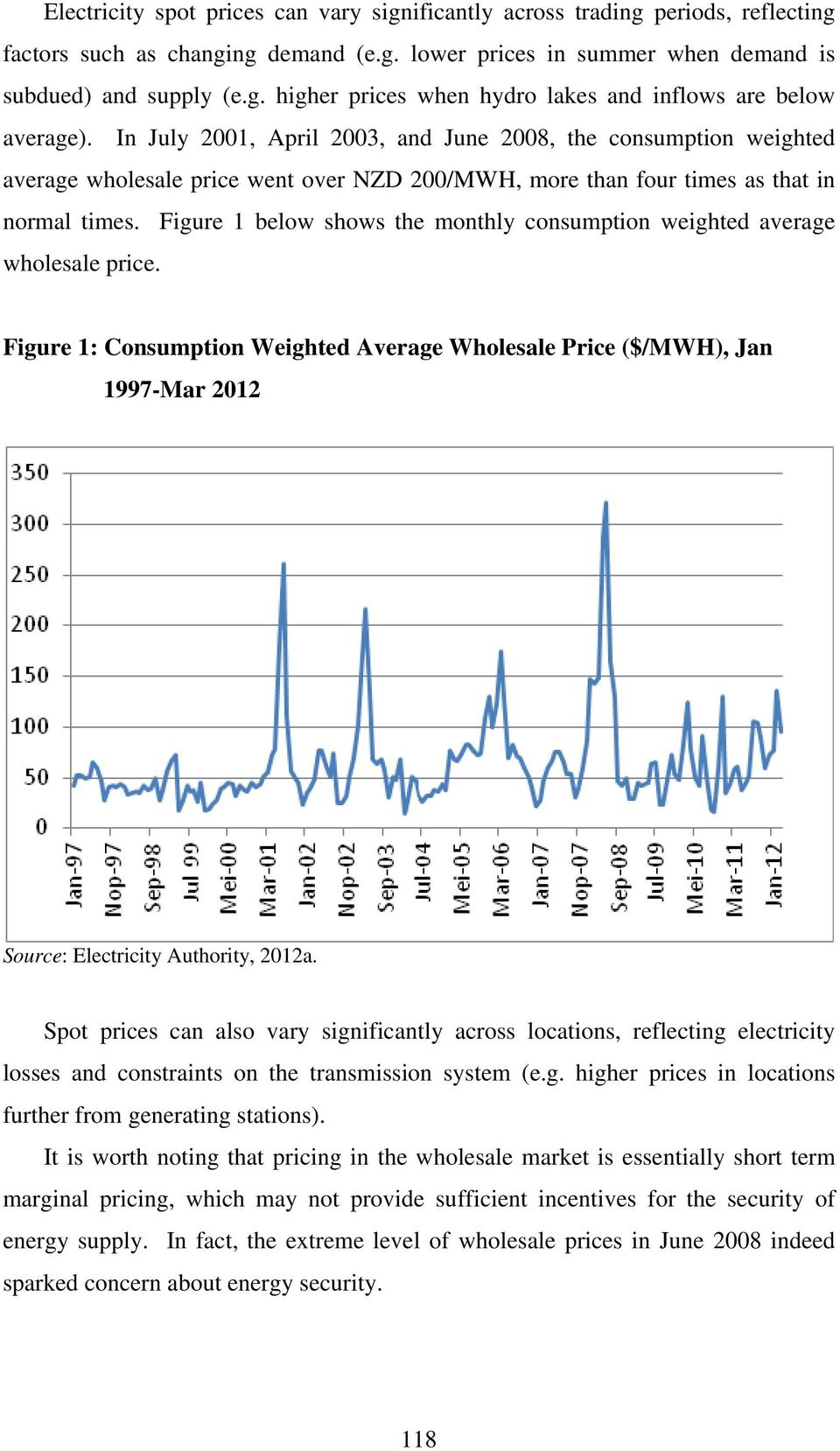 Figure 1 below shows the monthly consumption weighted average wholesale price. Figure 1: Consumption Weighted Average Wholesale Price ($/MWH), Jan 1997-Mar 2012 Source: Electricity Authority, 2012a.