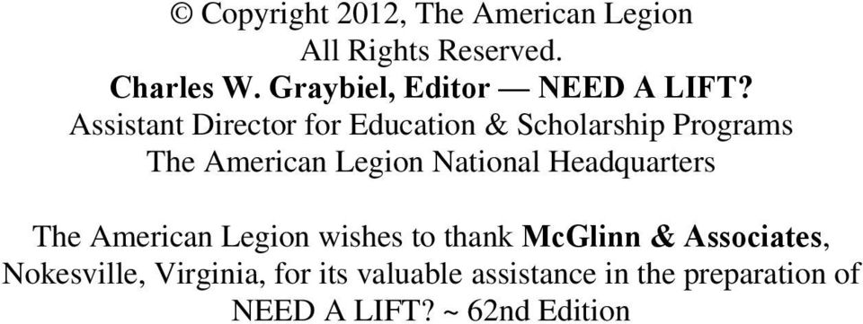 Assistant Director for Education & Scholarship Programs The American Legion National
