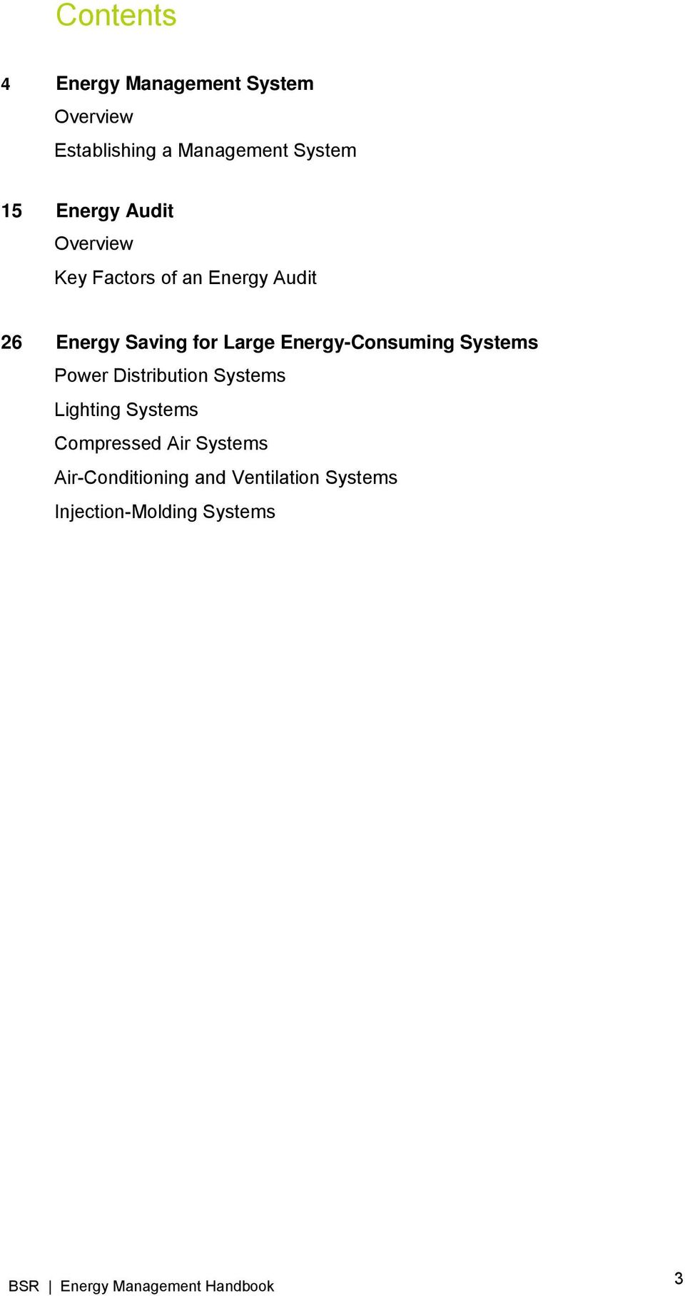 Energy-Consuming Systems Power Distribution Systems Lighting Systems Compressed
