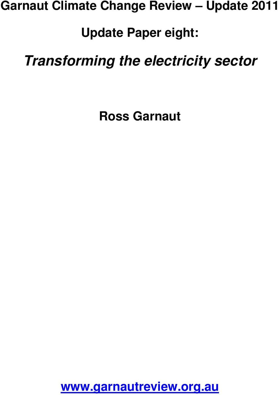 Transforming the electricity