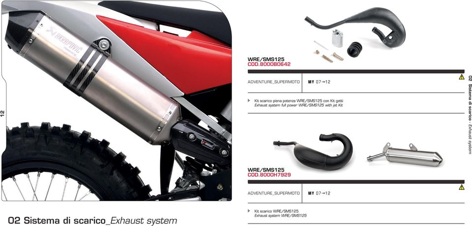 getti Exhaust system full power WRE/SMS125 with jet Kit 02 Sistema di scarico -
