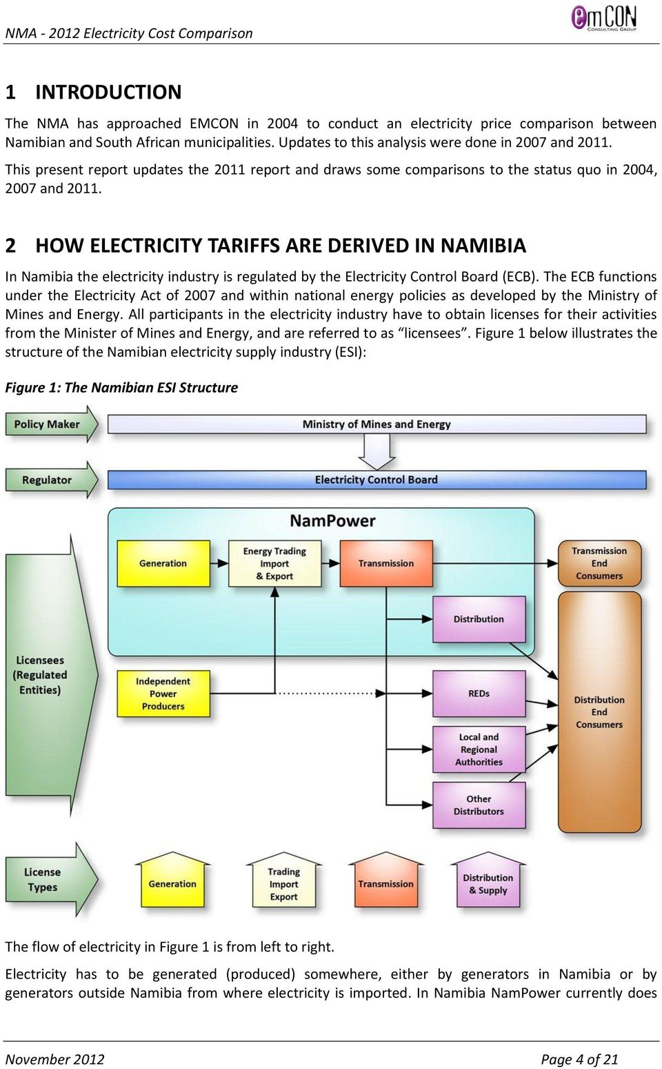 2 HOW ELECTRICITY TARIFFS ARE DERIVED IN NAMIBIA In Namibia the electricity industry is regulated by the Electricity Control Board (ECB).