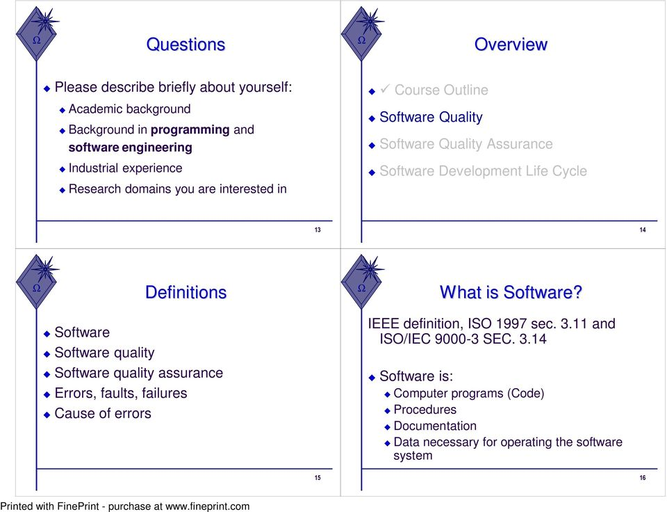 Definitions What is Software? Software Software quality IEEE definition, ISO 1997 sec. 3.