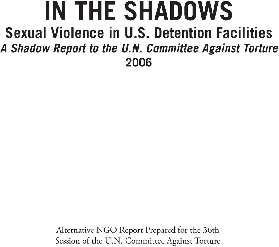 N. Committee Against Torture 2006 Alternative NGO