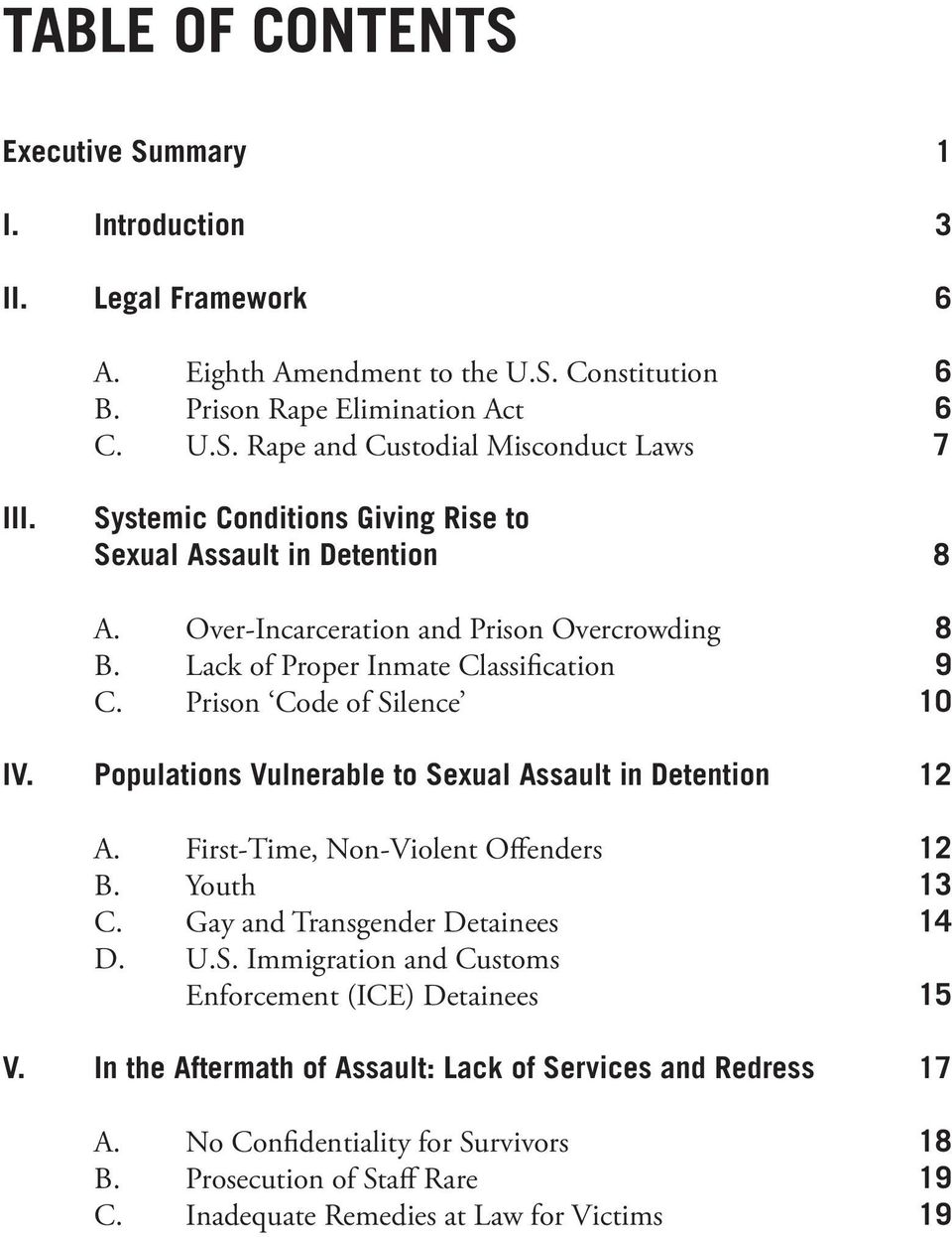 Populations Vulnerable to Sexual Assault in Detention 12 A. First-Time, Non-Violent Offenders 12 B. Youth 13 C. Gay and Transgender Detainees 14 D. U.S. Immigration and Customs Enforcement (ICE) Detainees 15 V.