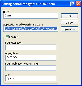 "6. Select the Open action and click Edit 7. make sure that the in the Application used to perform action field the following command is set: ""C:\Program Files\Microsoft Office\OFFICE11\OUTLOOK."