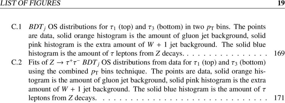 The solid blue histogram is the amount of τ leptons from Z decays................ 169 C.