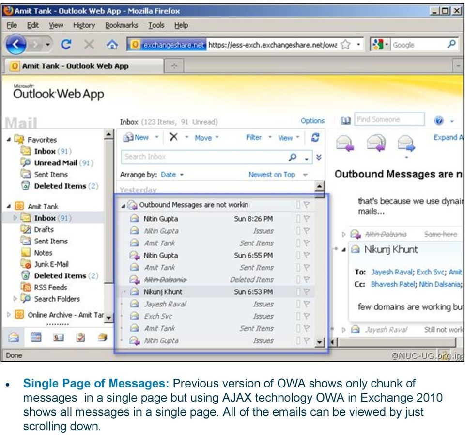 technology OWA in Exchange 2010 shows all messages in a