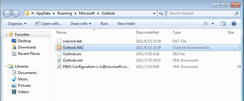 Right click on your Outlook NK2 file and