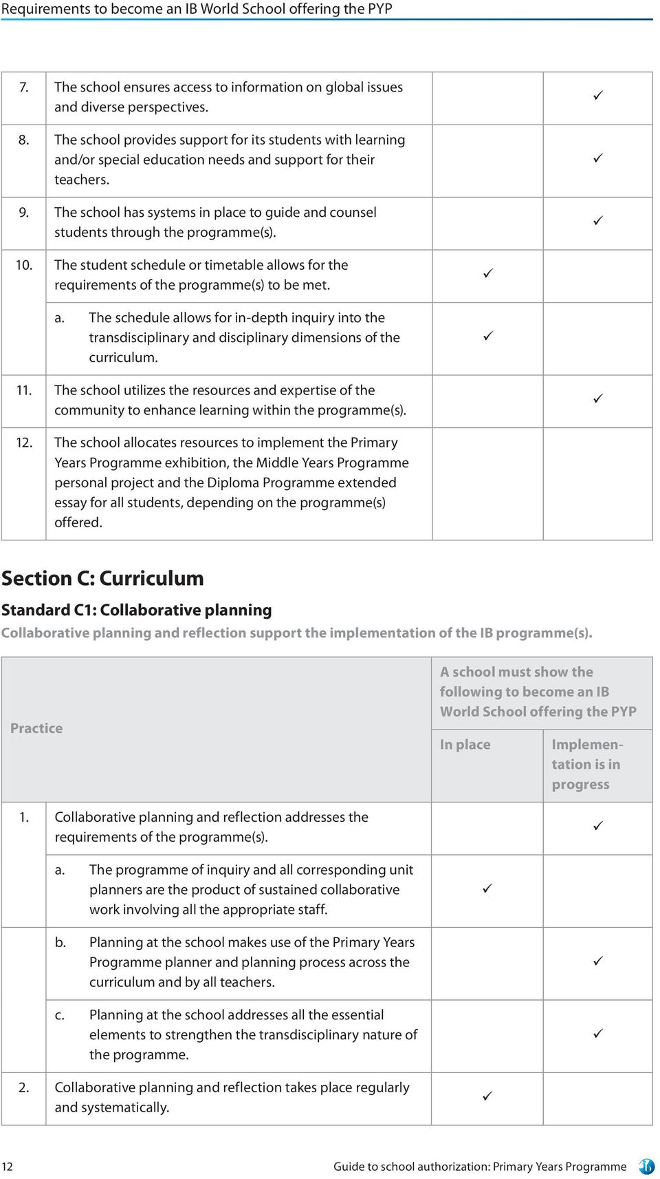 The school has systems in place to guide and counsel students through the programme(s). 10. The student schedule or timetable allows for the requirements of the programme(s) to be met. a. The schedule allows for in-depth inquiry into the transdisciplinary and disciplinary dimensions of the curriculum.
