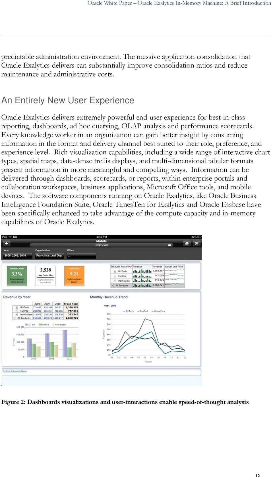 An Entirely New User Experience Oracle Exalytics delivers extremely powerful end-user experience for best-in-class reporting, dashboards, ad hoc querying, OLAP analysis and performance scorecards.