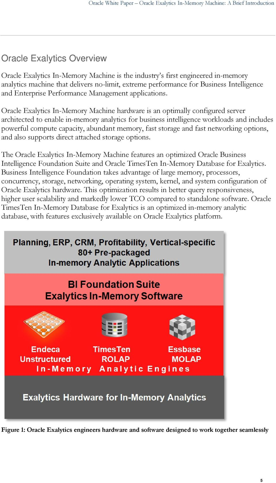 Oracle Exalytics In-Memory Machine hardware is an optimally configured server architected to enable in-memory analytics for business intelligence workloads and includes powerful compute capacity,