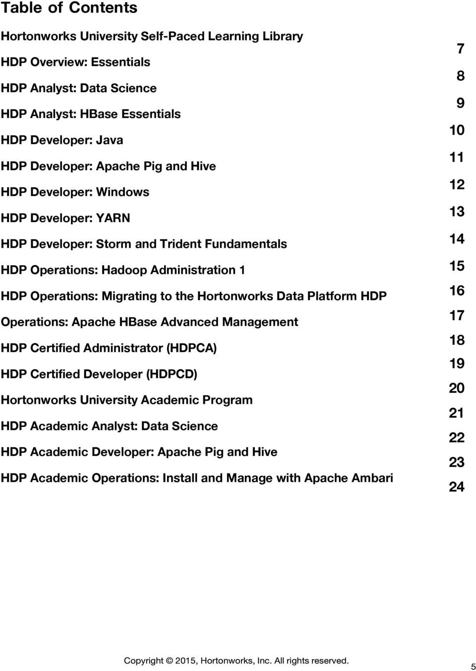 Hortonworks Data Platform HDP Operations: Apache HBase Advanced Management HDP Certified Administrator (HDPCA) HDP Certified Developer (HDPCD) Academic Program HDP