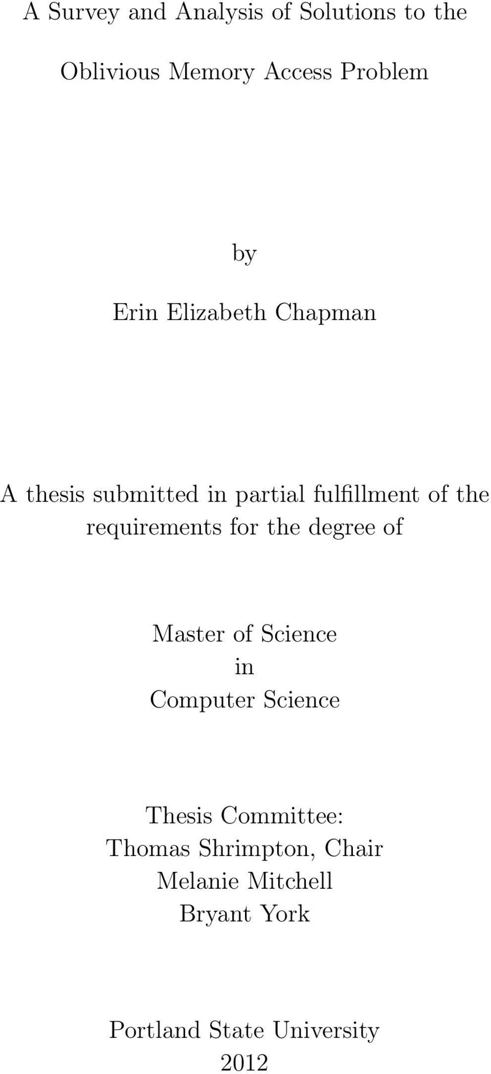 requirements for the degree of Master of Science in Computer Science Thesis