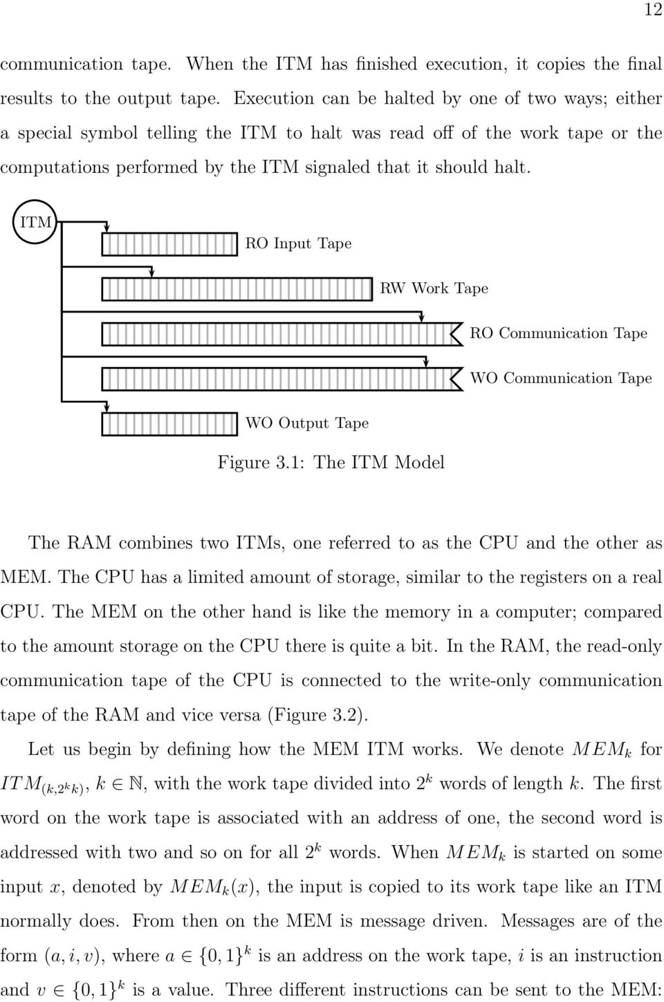 ITM RO Input Tape RW Work Tape RO Communication Tape WO Communication Tape WO Output Tape Figure 3.1: The ITM Model The RAM combines two ITMs, one referred to as the CPU and the other as MEM.