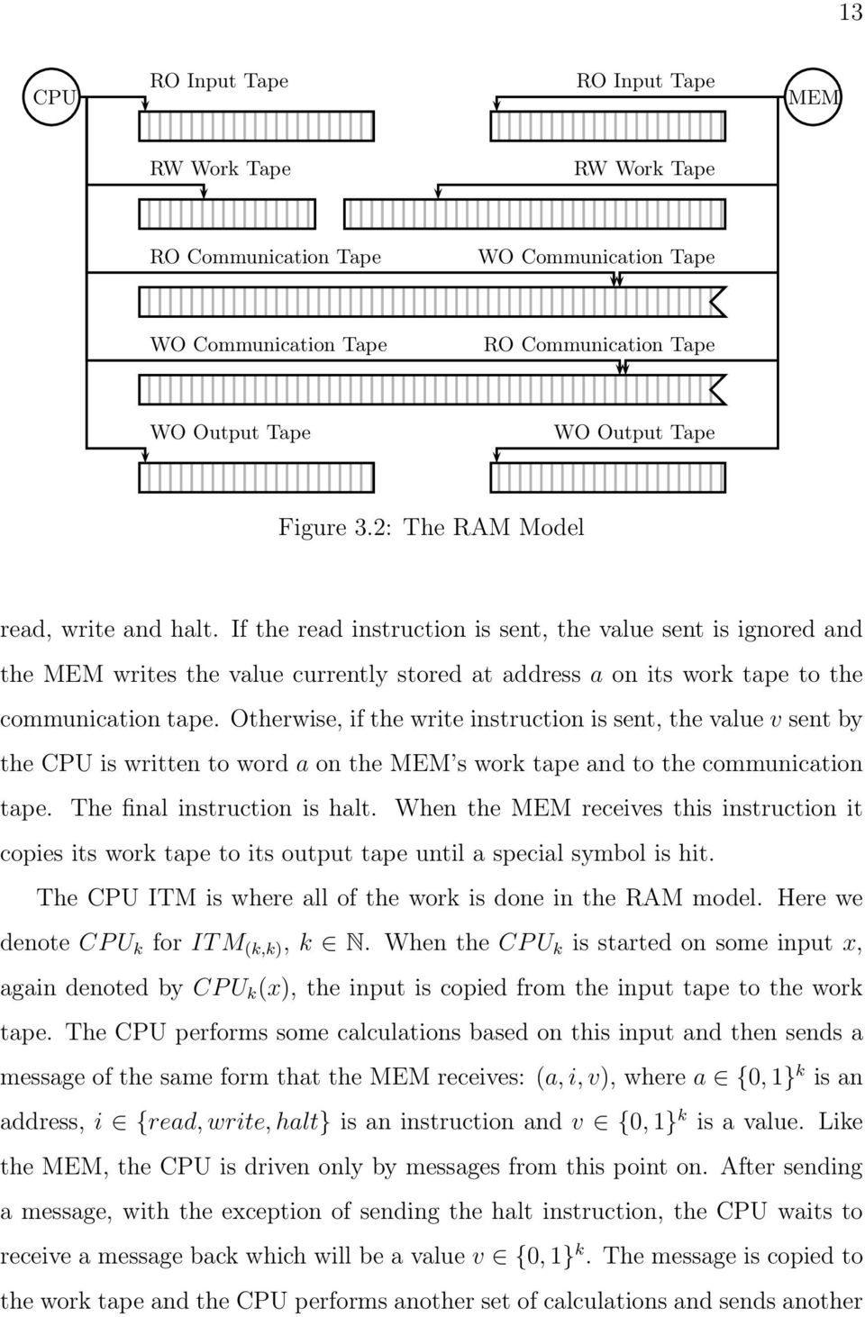 Otherwise, if the write instruction is sent, the value v sent by the CPU is written to word a on the MEM s work tape and to the communication tape. The final instruction is halt.