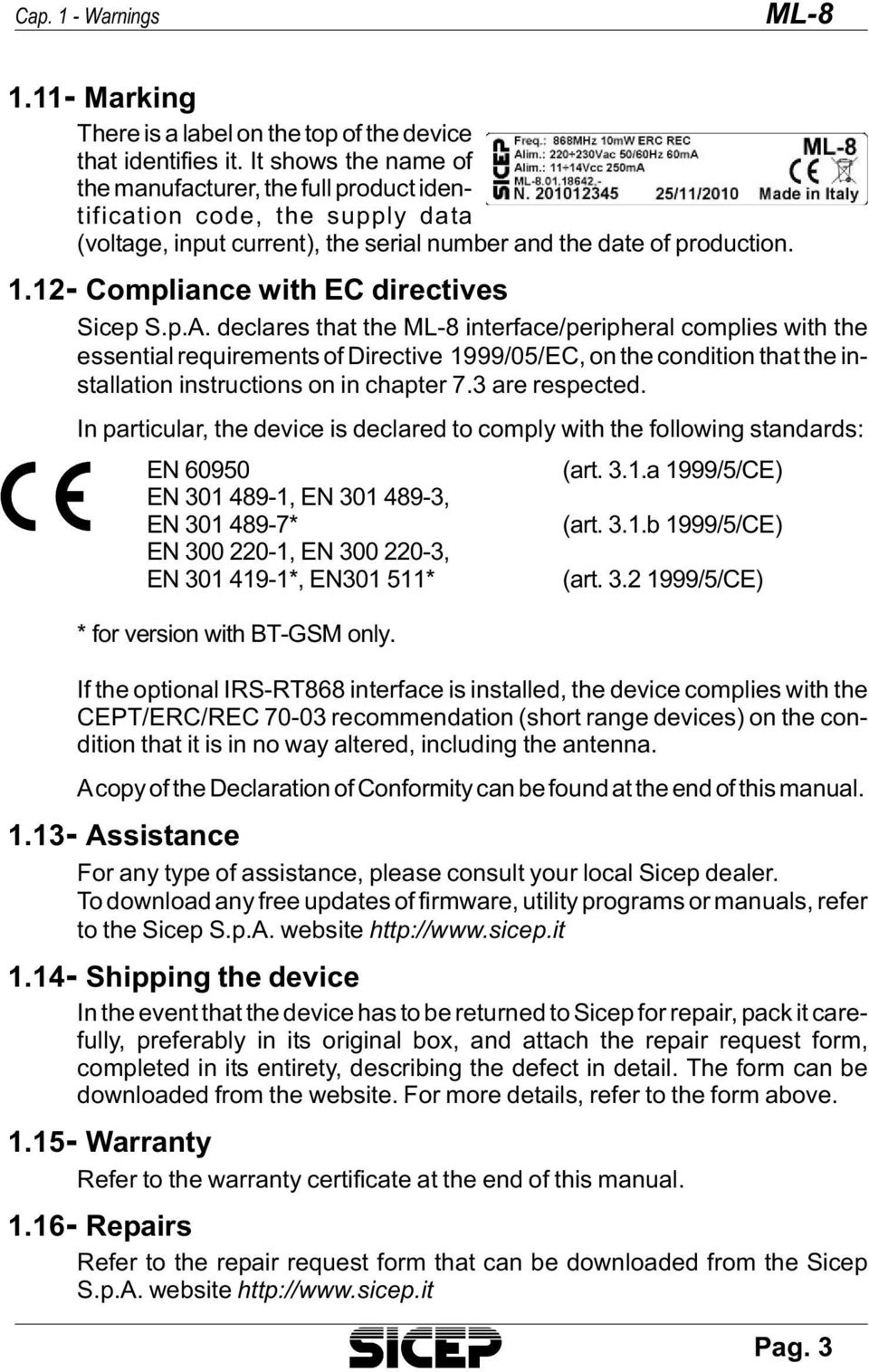 12- Compliance with EC directives Sicep S.p.A.