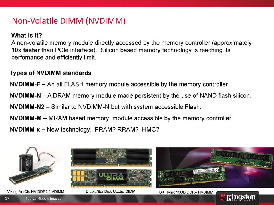 Types of NVDIMM standards NVDIMM-F An all FLASH memory module accessible by the memory controller.