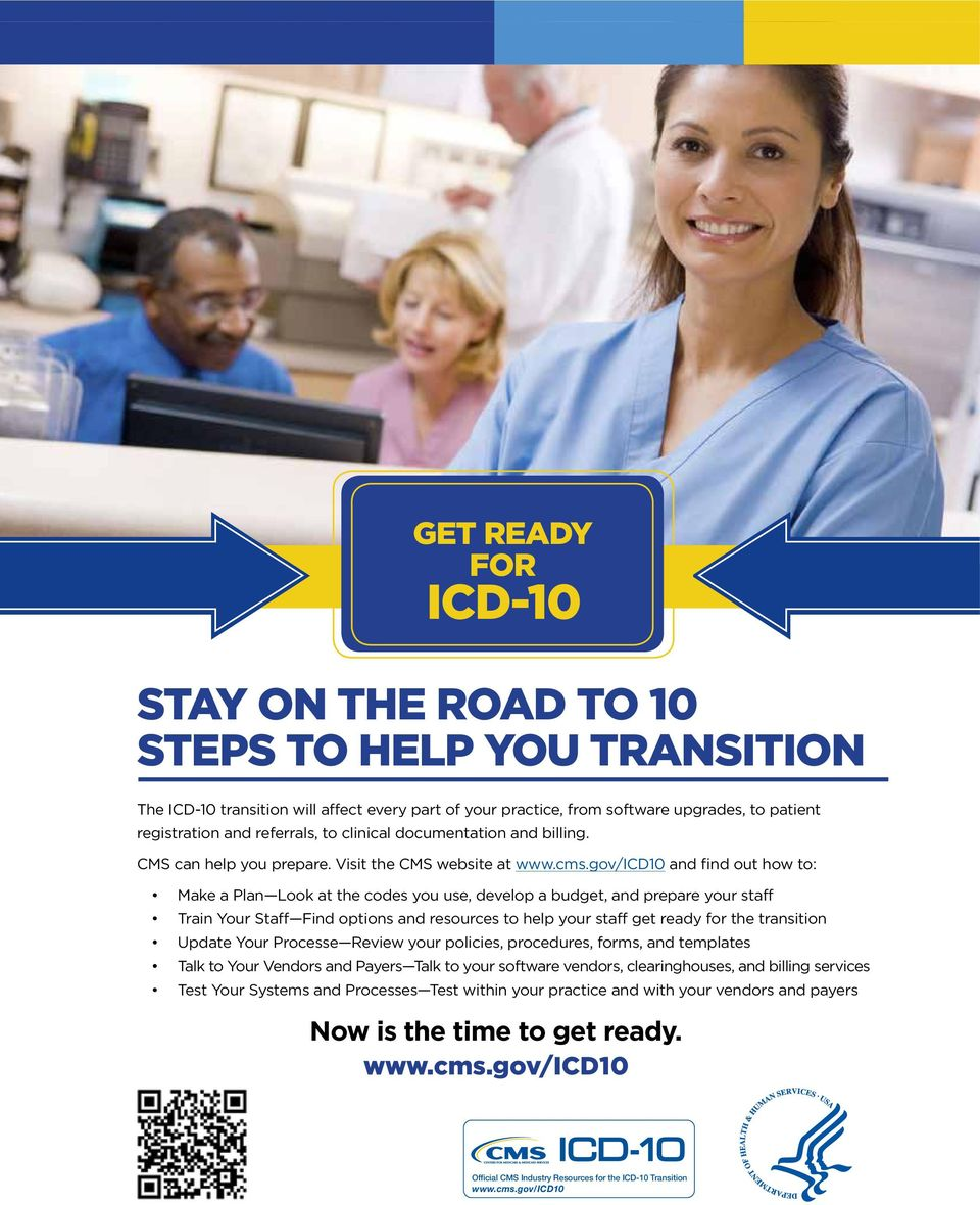 The The ICD-10 transition will will affect every part part of of your your practice, from from software upgrades, to to patient registration CMS can help and and you referrals, prepare.