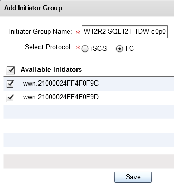 Creating Initiator Groups While still in the SAN Services display, select the tab Initiator Groups. At this point you should see nothing displayed.