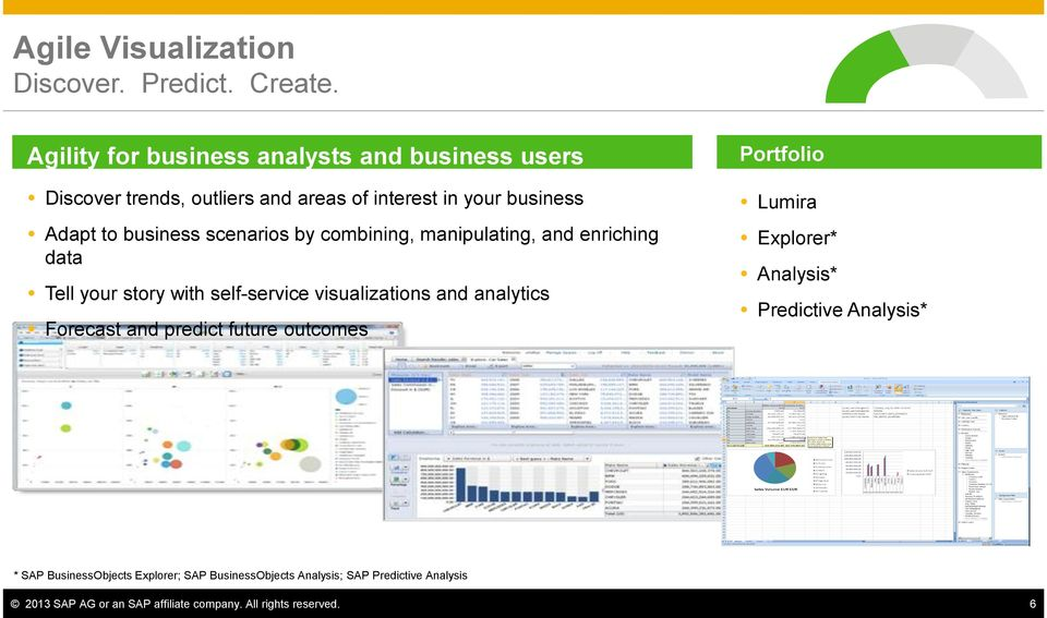 scenarios by combining, manipulating, and enriching data Tell your story with self-service visualizations and analytics Forecast and