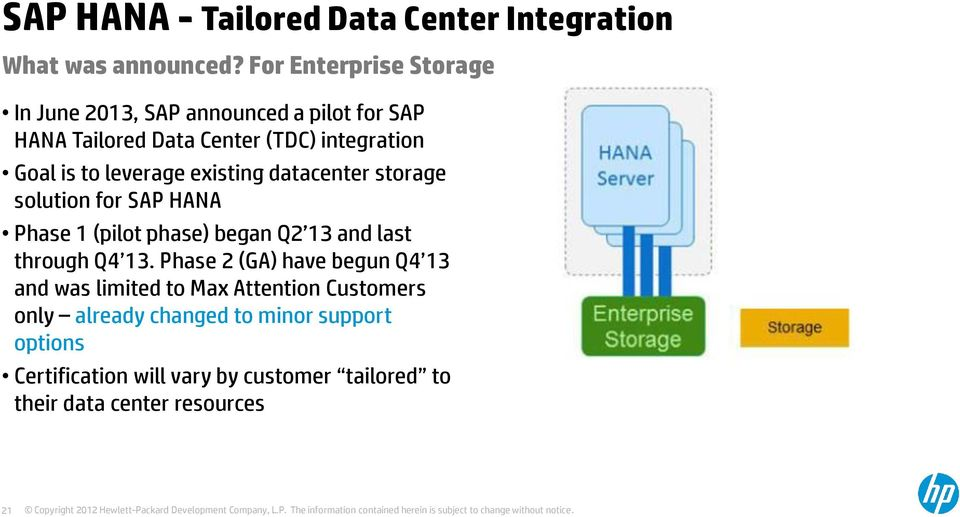 leverage existing datacenter storage solution for SAP HANA Phase 1 (pilot phase) began Q2 13 and last through Q4 13.
