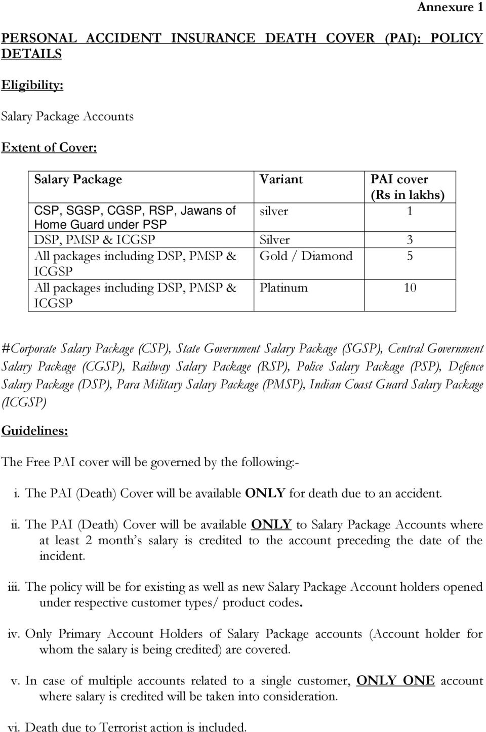 Package (CSP), State Government Salary Package (SGSP), Central Government Salary Package (CGSP), Railway Salary Package (RSP), Police Salary Package (PSP), Defence Salary Package (DSP), Para Military