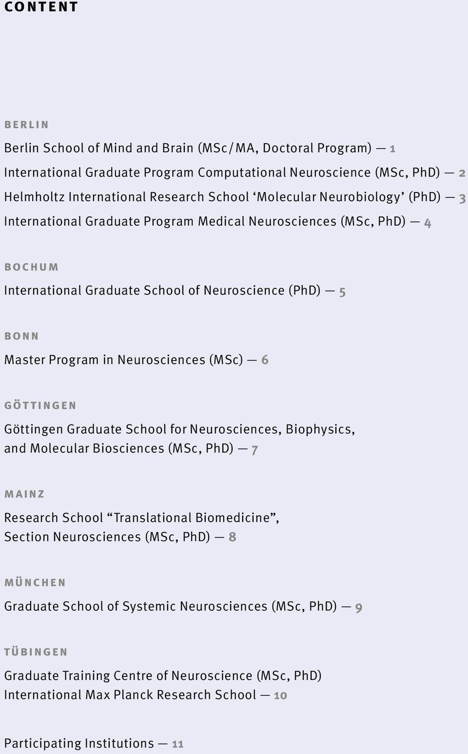 (MSc) 6 GöttinGen Göttingen Graduate School for Neurosciences, Biophysics, and Molecular Biosciences (MSc, PhD) 7 Mainz Research School Translational Biomedicine, Section Neurosciences (MSc,